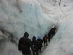 Climbing down a crevice